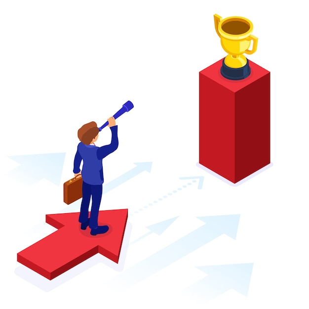 ビジネスの成功。等尺性のビジネスマンは矢印の上に立って、新しい機会をスパイグラスを通して見ます。スタートアップ、目標の概念。ビジョン、計画、将来のトレンド、ビジネスの新たな地平 Premiumベクター