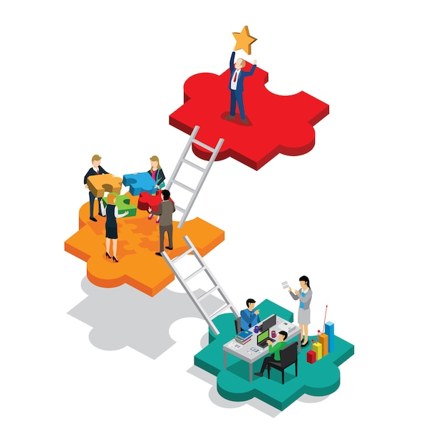 Business success isometric Premium Vector
