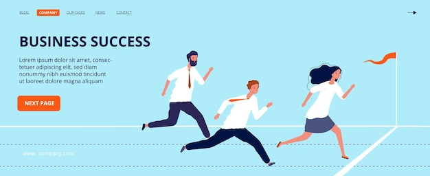 Business success landing page. office workers run to finish line. Premium Vector