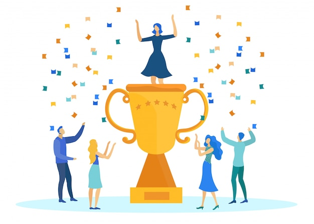 Business success, people with trophy and confetti. Premium Vector