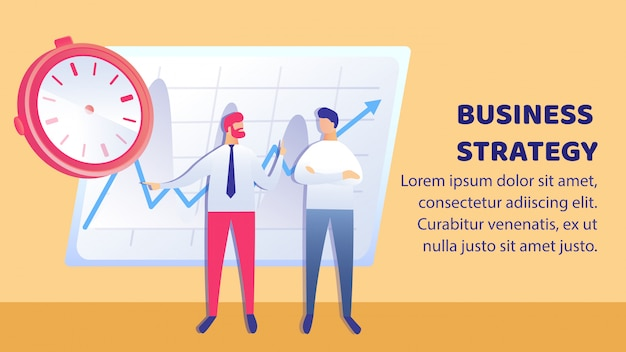 Business success plan flat banner vector template Premium Vector