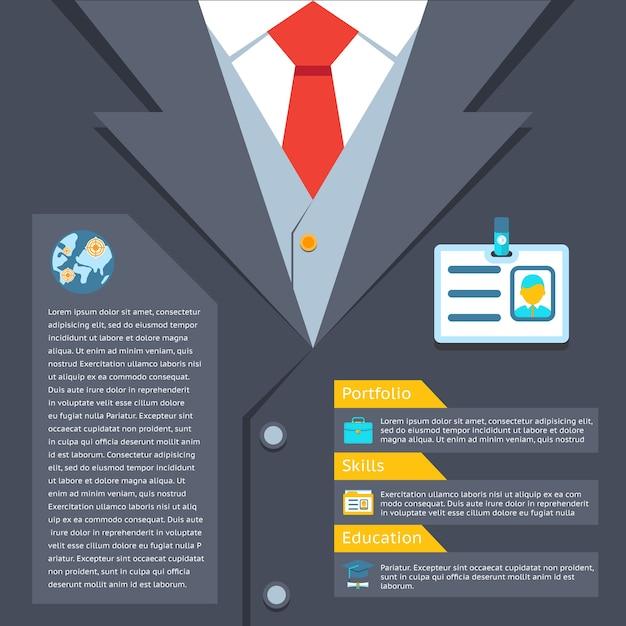 ビジネススーツの概要の概念。ポートフォリオと教育、専門的なスキル 無料ベクター