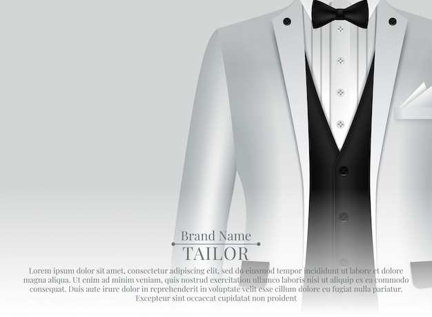 Business suit template with black tie and white shirt in realistic style Premium Vector