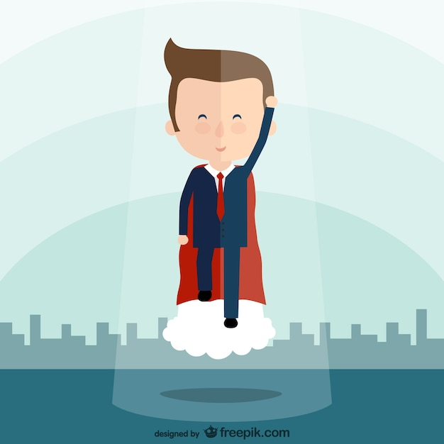 Business superhero cartoon