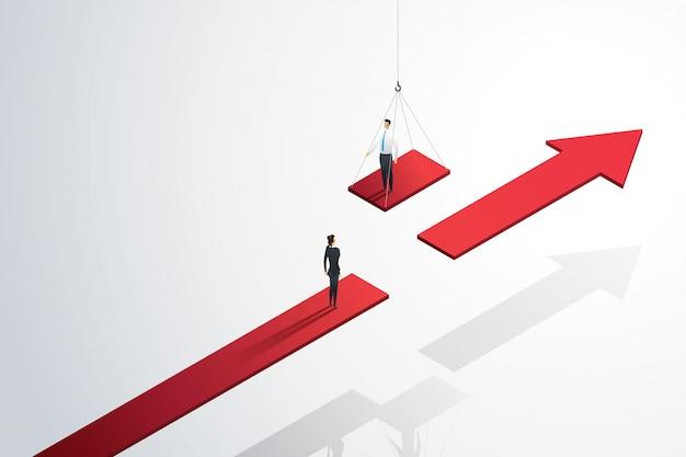 成長の成功への架け橋となる彼のチームを支援するビジネスサポート。 Premiumベクター