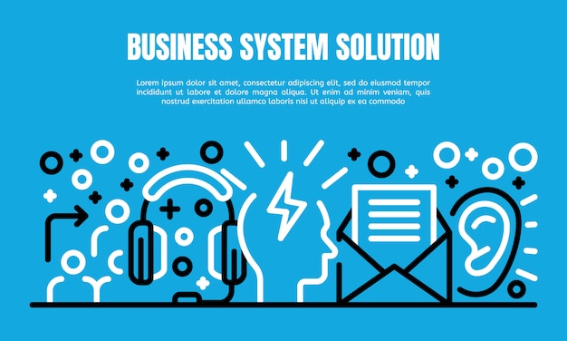 Premium Vector | Business system solution banner, outline style