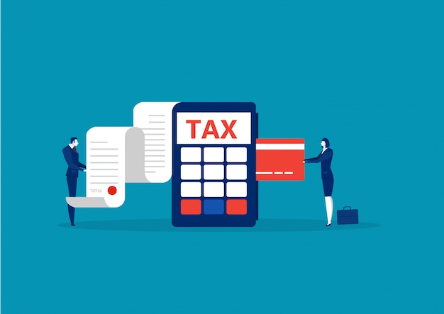 Business take credit card for pay tax Premium Vector