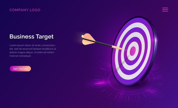 Business target isometric, dart board with arrow Free Vector