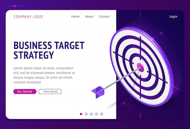 Business target strategy isometric landing page. Free Vector