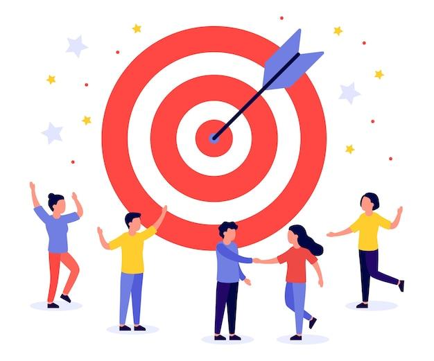矢印と人とのビジネスターゲット。チームワーク、目標、モチベーション、目標達成、成功したコンセプト。ブルズアイで、ターゲットを右に叩きます。ゲームダーツ。フラットイラスト Premiumベクター