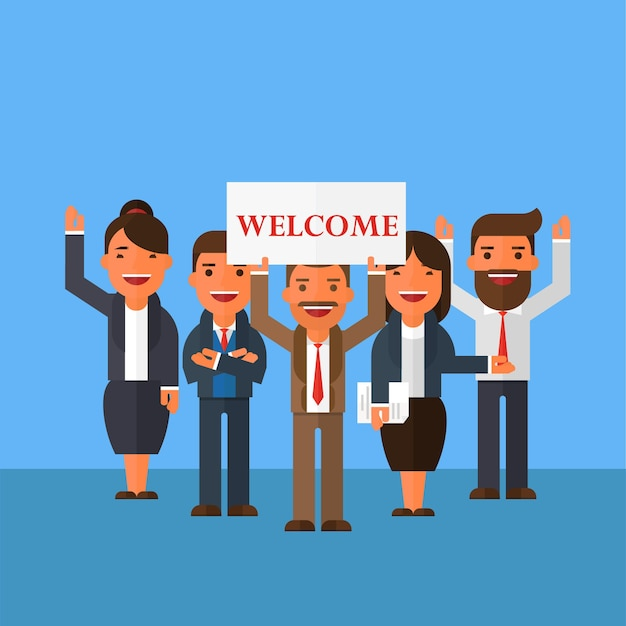 Business team are holding a sign welcome Vector | Premium ...