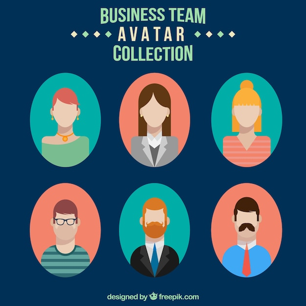 Business team avatar collection in flat\ design