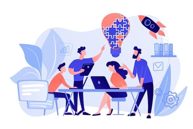 ビジネスチームは、ジグソーパズルからアイデアと電球をブレインストーミングします。作業チームのコラボレーション、企業の協力、同僚の相互支援の概念。ピンクがかった珊瑚bluevector分離イラスト 無料ベクター