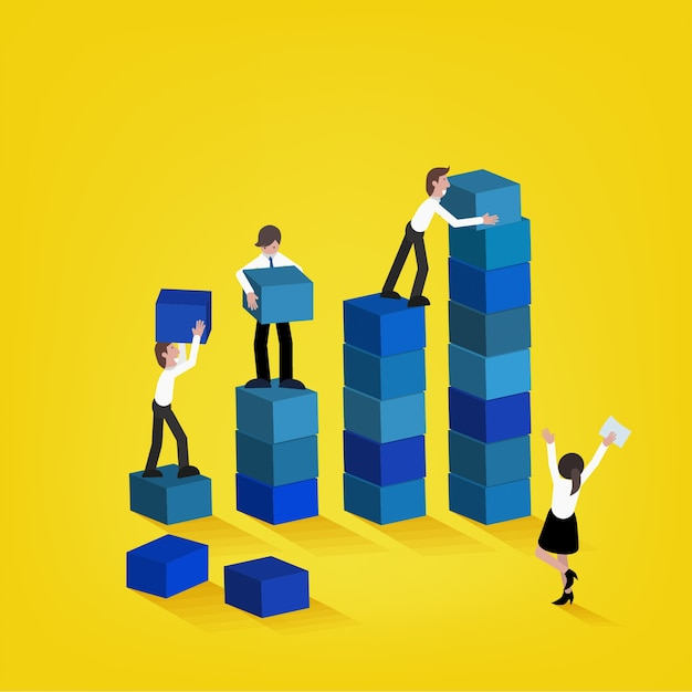 business team building higher growth graph teamwork and