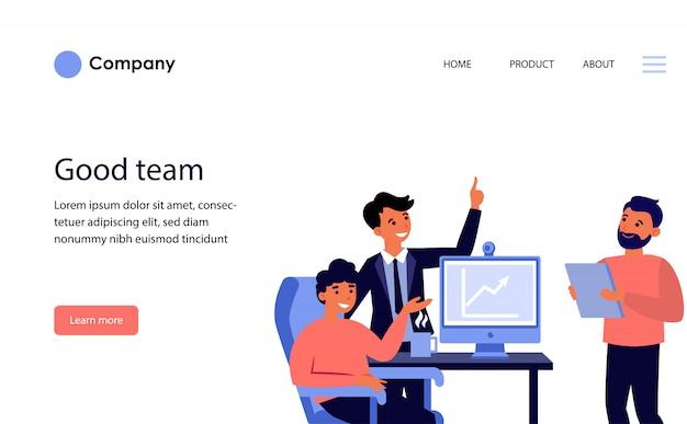 Squadra di affari che celebra la crescita del reddito. modello di sito web o pagina di destinazione Vettore gratuito
