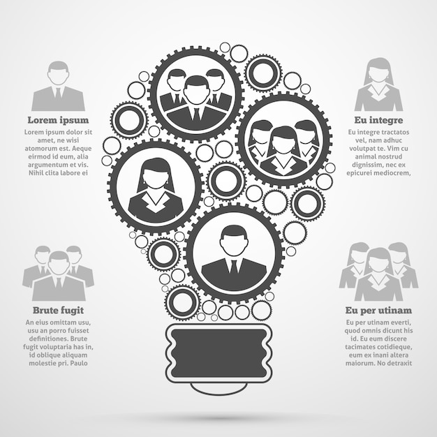 Business team composition bulb infographic Free Vector