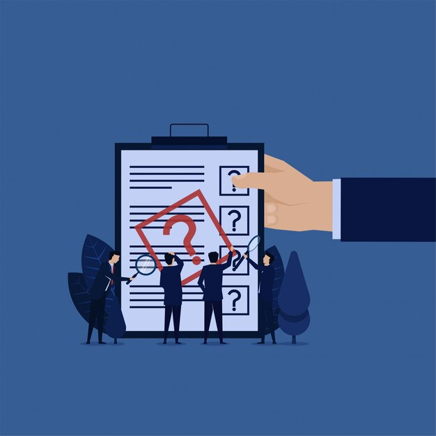 Business team confuse to fill form. report investigation. Premium Vector