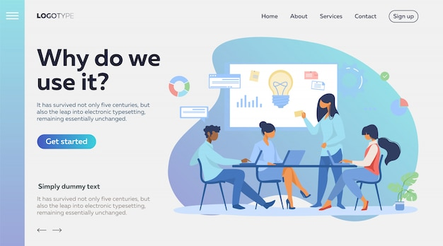 スタートアップのアイデアを議論するビジネスチーム 無料ベクター