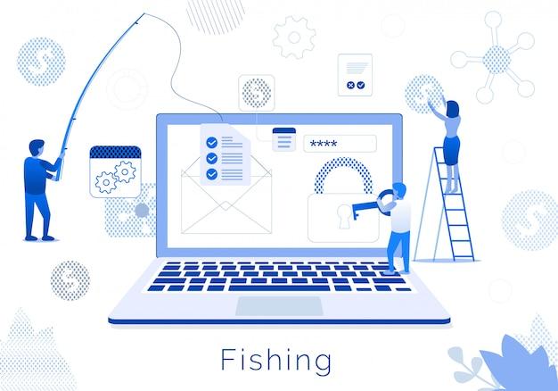 Business team fishing metaphor flat text banner Premium Vector