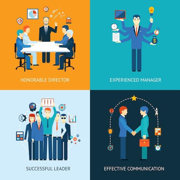 Banner di leader del team aziendale con una riunione di gestione Vettore gratuito