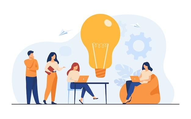 사무실 또는 공동 작업 공간에서 비즈니스 팀 회의 무료 벡터