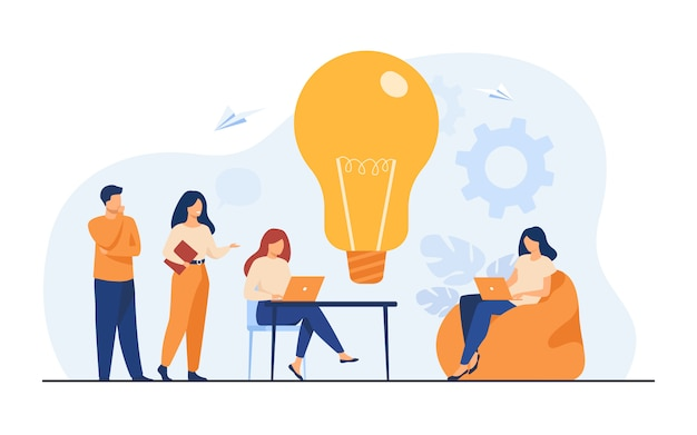 Business team meeting in office or co-working space Free Vector