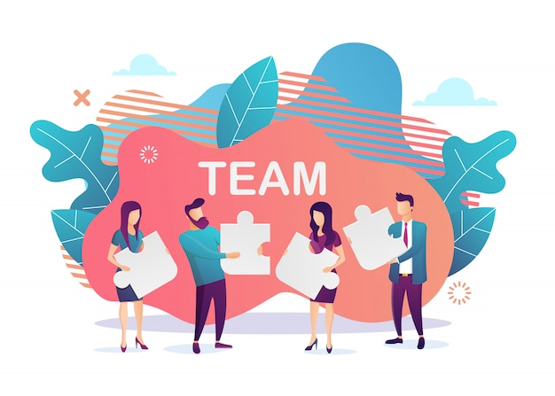 Business . team metaphor. people connecting puzzle elements. flat design style. symbol of teamwork, cooperation, partnership.  illustration Premium Vector