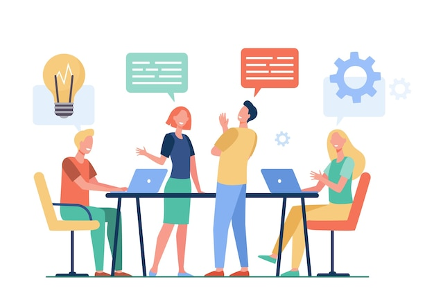 Business team planning working process flat vector illustration. cartoon colleagues talking, sharing thoughts and smiling in company office. teamwork and workflow concept Free Vector