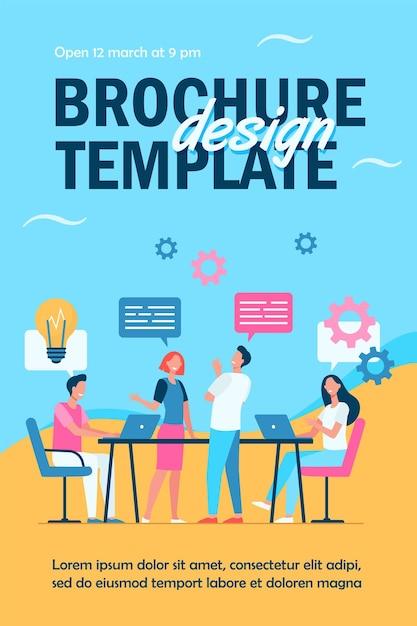 비즈니스 팀 계획 작업 프로세스 전단지 템플릿 무료 벡터
