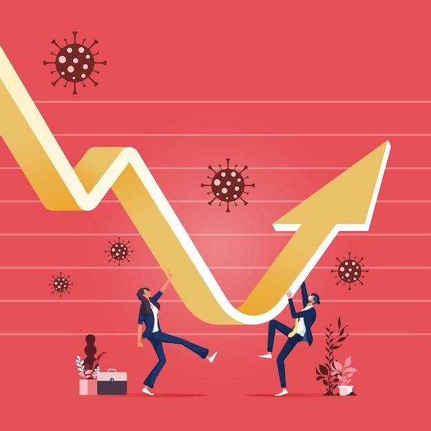 ビジネスチームは、ウイルス病原体のグラフとチャートを使用して回復および復元します Premiumベクター