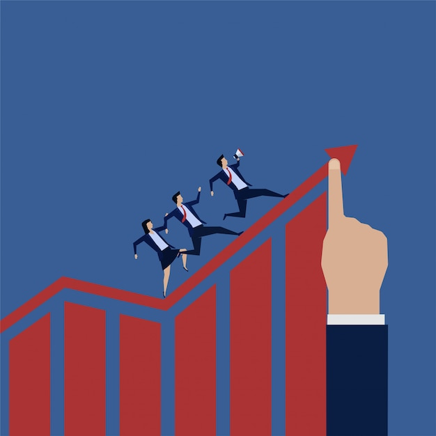 Business team run around grow up chart. Premium Vector