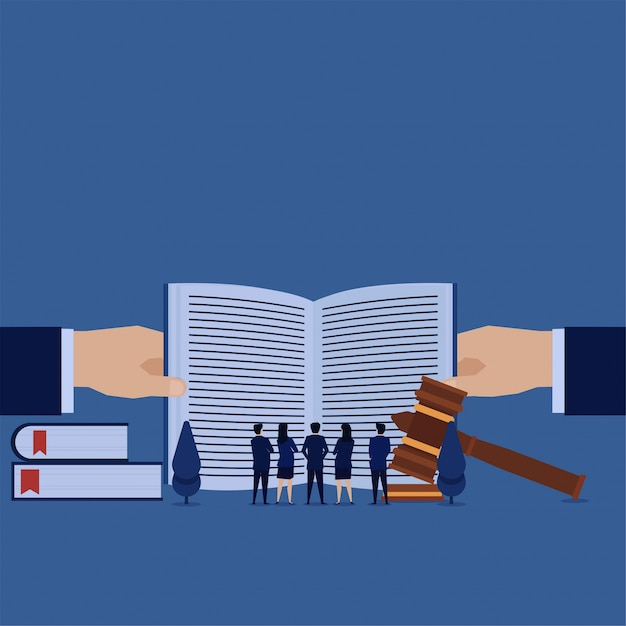 Business team see open book metaphor of terms and license. Premium Vector