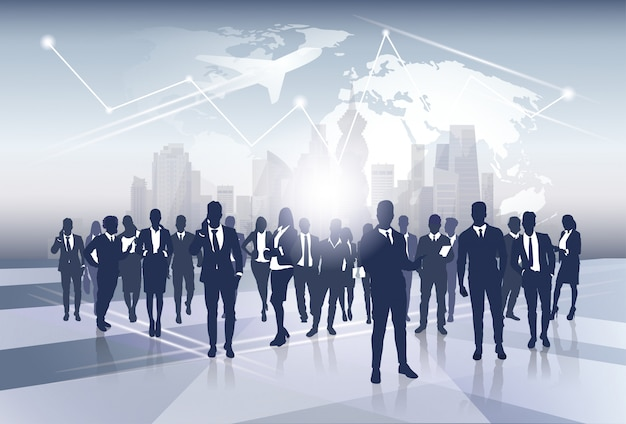 Business team silhouette businesspeople group human resources over world map trip flight concept Premium Vector