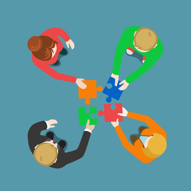Soluzione per team aziendali in collaborazione con il lavoro di squadra Vettore gratuito