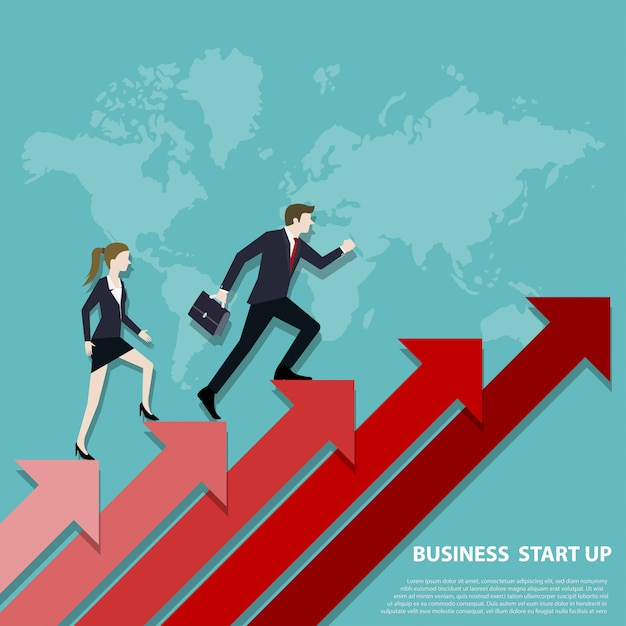 Business team steps up stairs to successful point Premium Vector