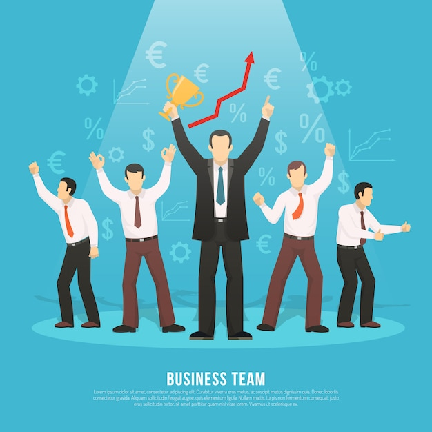 Business team success flat poster Free Vector