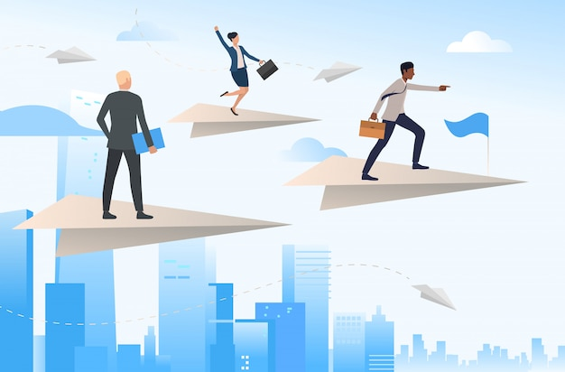 Business team traveling on flying paper planes Free Vector