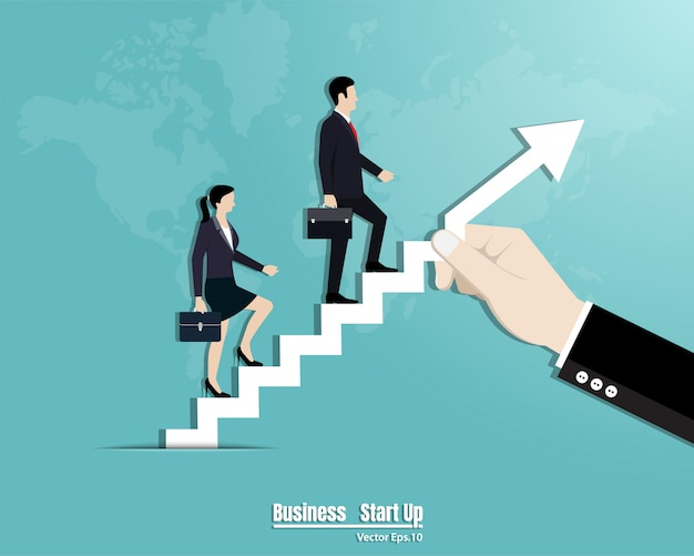 Business team walking up the stairs Premium Vector