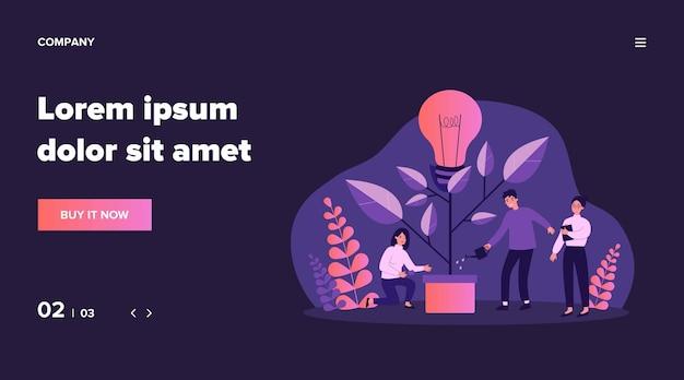 Бизнес-команда поливает инновационный завод, растущее дерево с лампочкой. люди, имеющие идею экологического будущего, окружающей среды, электричества. иллюстрация для совместной работы, экономики, концепции климата Premium векторы