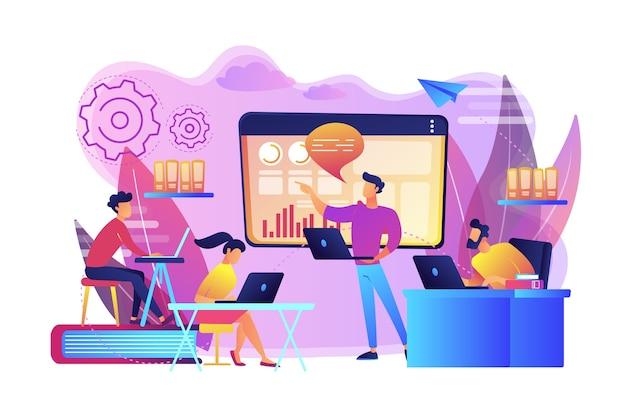 노트북 비즈니스 팀은 차트로 디지털 프레젠테이션을 봅니다. 디지털 프레젠테이션, 사무실 온라인 회의, 시각적 데이터 표현 개념. 밝고 활기찬 보라색 고립 된 그림 무료 벡터