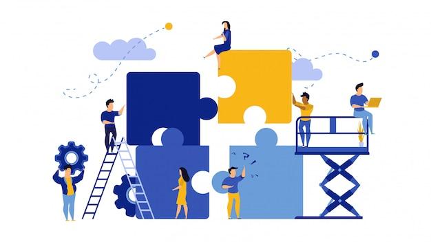 Business team work building puzzle. Premium Vector