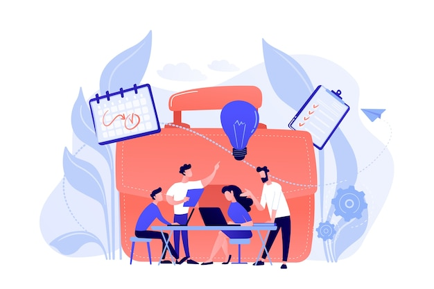 Business team work together with laptops and light bulb. collaboration, collaborative problem solving and partnership concept on white background. Free Vector
