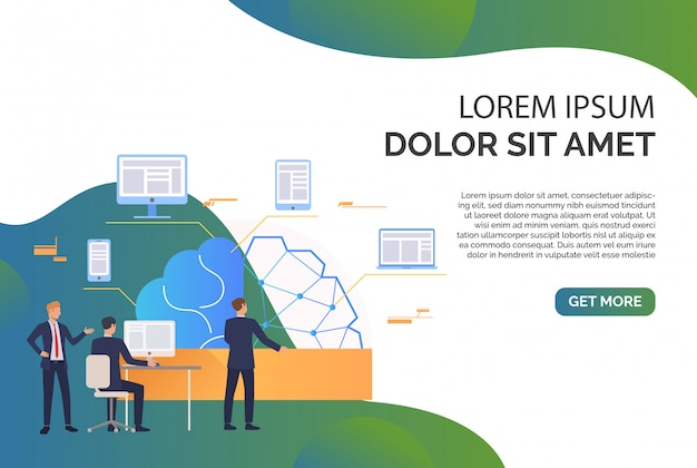 Business team working, brain, network, gadgets and sample text Free Vector