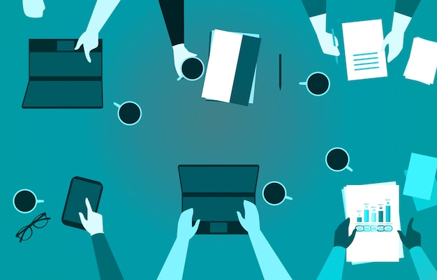 Business team working in office desk with phone paper laptop and coffee illustration Premium Vector
