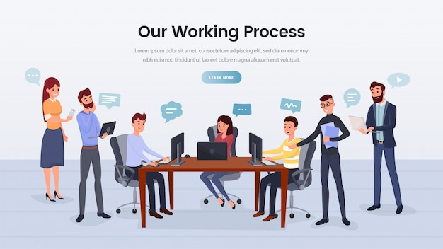 Business team working process landing page Premium Vector