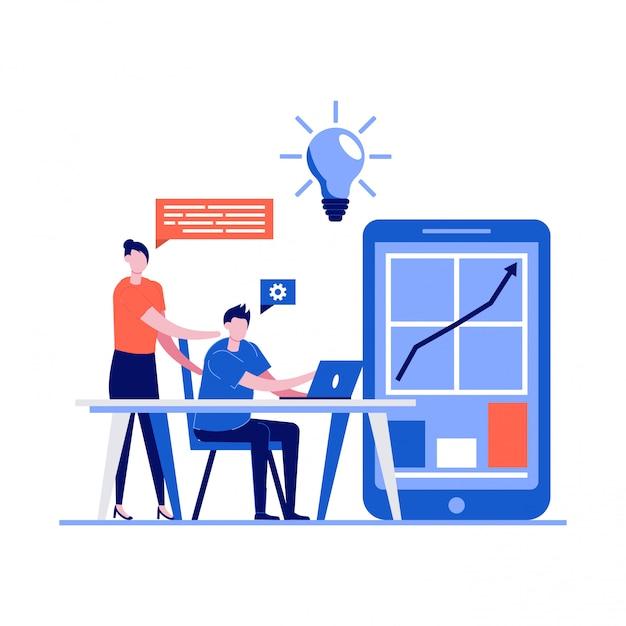 Бизнес-концепция совместной работы и коворкинга с персонажами. молодой человек, встречающийся с молодой женщиной и использующий ноутбук для анализа данных. Premium векторы