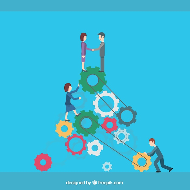 Business teamwork cartoon Free Vector