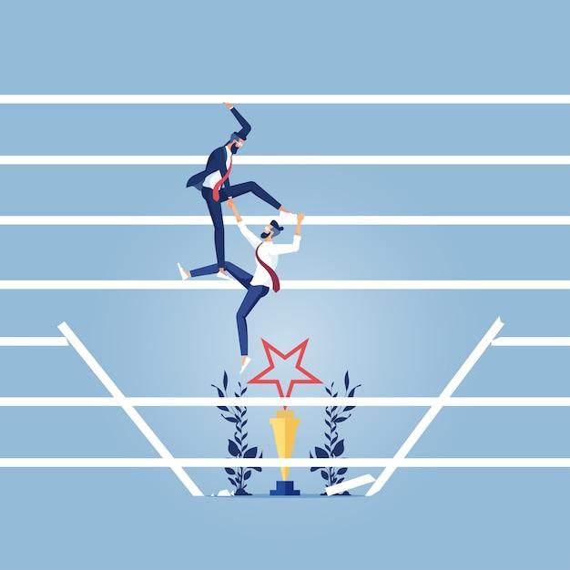 彼のパートナーがはしごを登るのを助けるビジネスチームワークコンセプトビジネスマン Premiumベクター