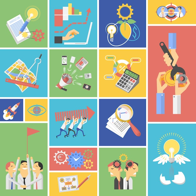 Business teamwork concept flat icons set Free Vector