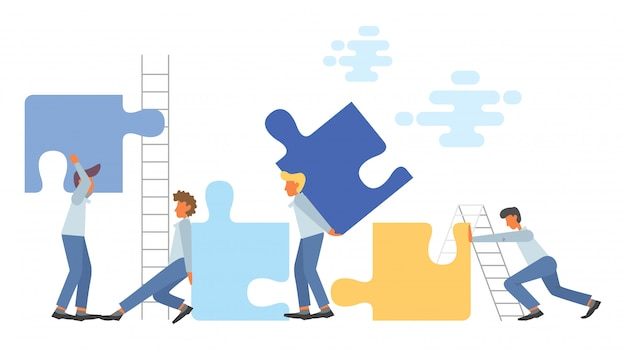 Business teamwork concept in flat style illustration Premium Vector